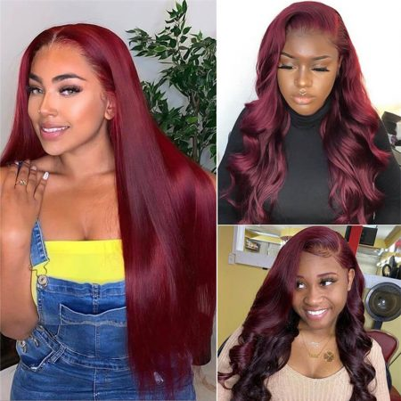 Wine Red 99J Pre Colored 5x5 Lace Closure Wigs In HD Transparent Lace Is in stock