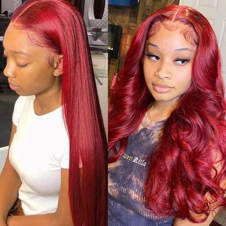 Red Color 13x6 Lace Front Wig Deep Part Lace Wig